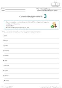 Common Exception Words 3