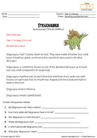 Reading comprehension - Stegosaurus (non-fiction)