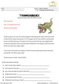 Reading comprehension - Tyrannosaurus rex (non-fiction)