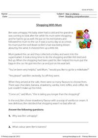 Reading comprehension - Shopping With Mum