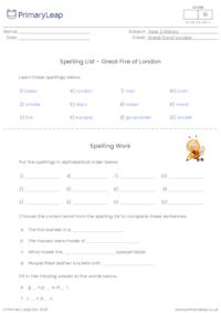 Spelling List - Great Fire of London
