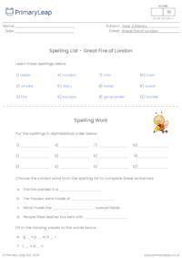 Spelling List - Great Fire of London