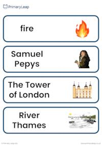 The Great Fire of London vocabulary cards