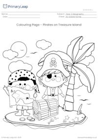 Colouring Page - Pirates on Treasure Island