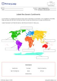 Label the Seven Continents