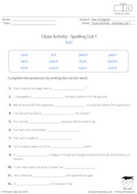 Cloze Activity - Spelling List 1 'tch'