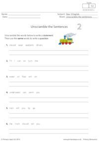 Unscramble the Sentences 2