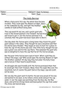 Reading Comprehension - The Holly Berries