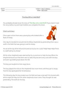 Reading comprehension - The Boy Who Cried Wolf