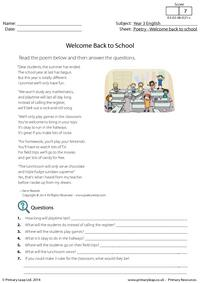 Welcome Back to School - Poetry