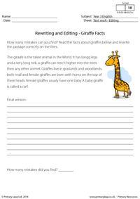 Rewriting and Editing - Giraffe Facts