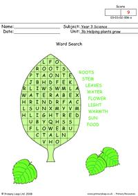 Helping plants grow word search
