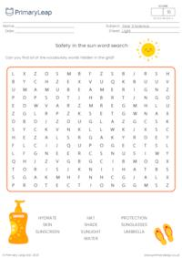 Safety in the sun word search