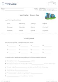 Spelling List - The Bronze Age