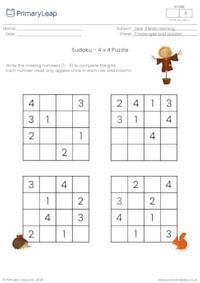 Sudoku 4 x 4 puzzle - Autumn theme
