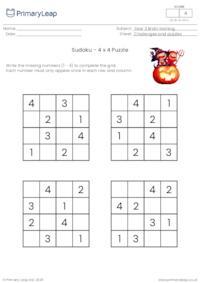Sudoku 4 x 4 puzzle - Halloween theme