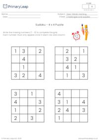 Sudoku 4 x 4 puzzle - Back to school theme