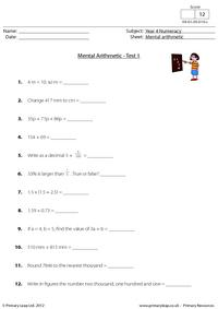 Mental arithmetic - Test 1