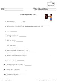 Mental arithmetic - Test 4