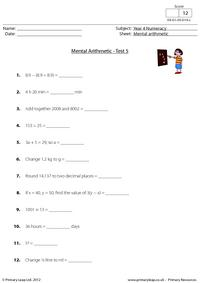 Mental arithmetic - Test 5