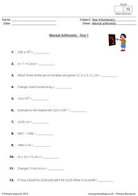 Mental arithmetic - Test 7