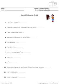 Mental arithmetic - Test 8