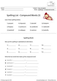 Spelling List - Compound words (3)