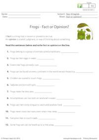 Frogs - Fact or Opinion?