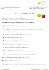 Food - Fact or Opinion?