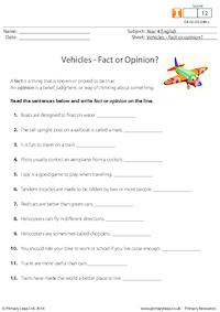 Vehicles - Fact or Opinion?