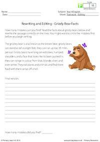 Rewriting and Editing - Grizzly Bear Facts