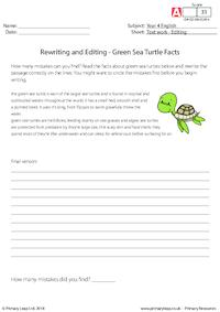 Rewriting and Editing - Green Sea Turtle Facts