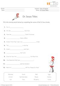 Dr. Seuss Titles - Missing Words