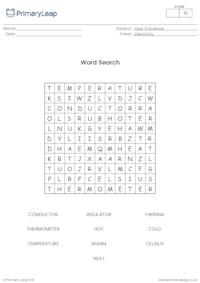 Keeping warm word search