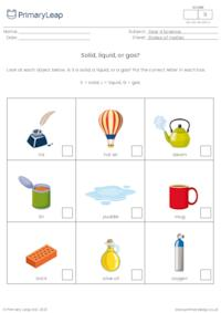 Identify solids, liquids, and gases