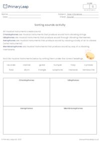 Sorting sounds activity