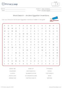 Word search - Ancient Egyptian inventions