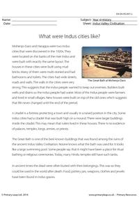 Reading comprehension - What were Indus cities like?
