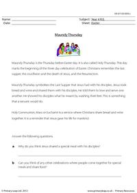 Reading comprehension - Maundy Thursday