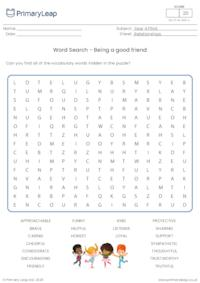Word Search - Being a good friend