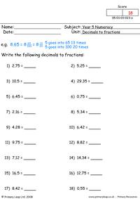 Decimals to fractions