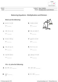 Balancing Equations - Multiplication and division