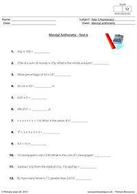 Mental arithmetic - Test 6