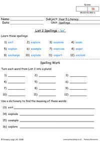 Spelling list 2