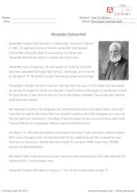 Comprehension - Alexander Graham Bell