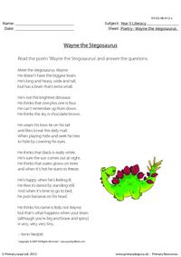 Comprehension - Wayne the Stegosaurus