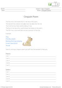 Writing Cinquain Poems