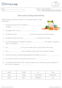 Life Cycle of a Frog - Cloze Exercise