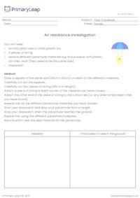 Air resistance investigation