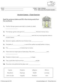 Ancient Greece - Cloze activity